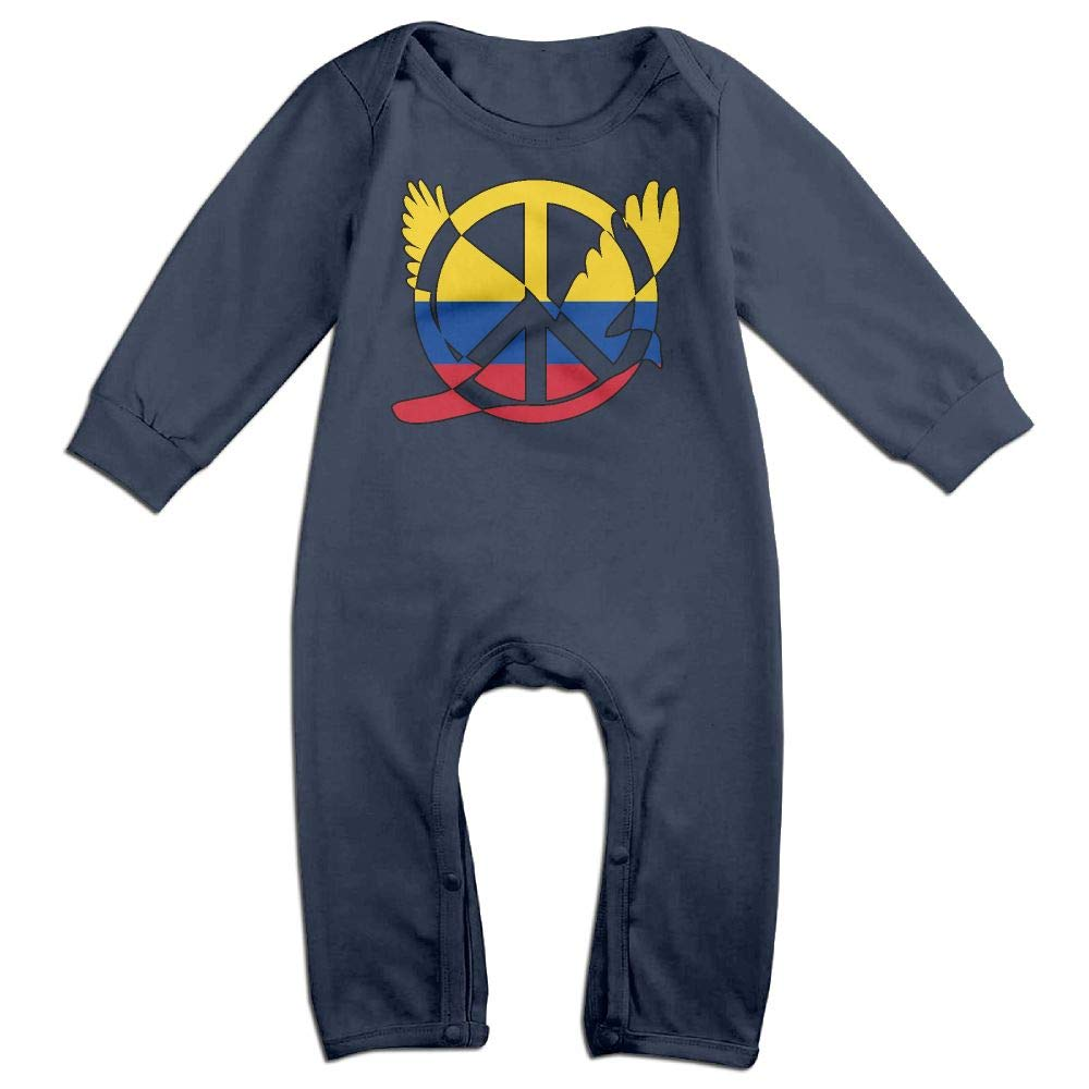 Mri-le1 Baby Boy Organic Coverall Colombia Flag Peace Sign Symbol Kid Pajamas