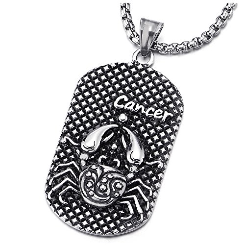 (COOLSTEELANDBEYOND Steel Horoscope Zodiac Signs Cancer Dog Tag Pendant Necklace, Twelve Constellations, Mens Women)