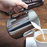 Kingnice 12oz Stainless Steel Milk Frothing Pitcher Cup for Latte or Cappuccino