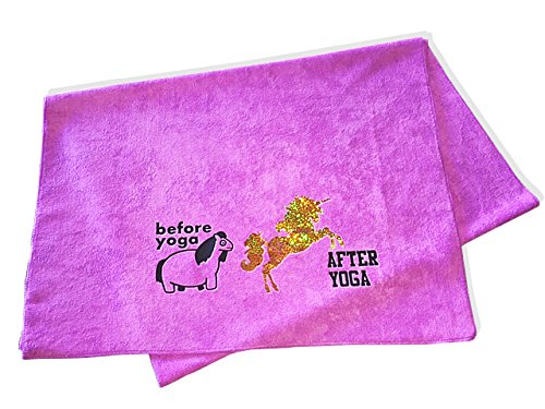 "Funny Microfiber Yoga Gym Towel - Premium Novelty Pilates Workout Towel With Fun Quote - Sweat Absorbent for Hot Yoga, Washable & Non-Slip - Fits Standard Mat 24"" x 68"" – Pink Unicorn Before After Yog"