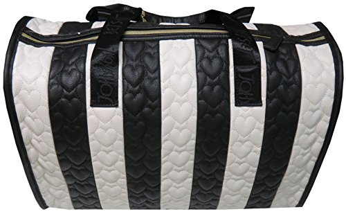 Fully Lined Quilted Wallet - Betsey Johnson Be Mine Heart Quilted Carry On Weekender Travel Duffel Bag - Black/White Stripe