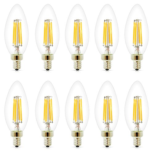 Dimmable LED Blunt Tip Candelabra Bulb, 4 Watt 400 Lumen, E12 Base 2700K, 40W Equivalent, Vintage Decorative Candle Light Bulb Indoor or Outdoor, For Kitchen, Bedroom, Living Room, 10 Pack