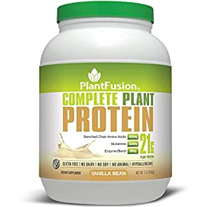 PlantFusion Complete Protein Powder, Vanilla Bean, No Soy or Rice, 30 Servings, 21g Protein, 2lb Tub