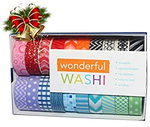 Wonderful Washi Tape Japanese Decorative Paper Craft Tape - Geometric Collection (Set of 20 Rolls) Extra Long (32 feet!)