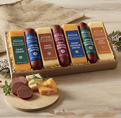 7-Piece Cheese & Sausage Gift Box from Wisconsin Cheeseman by The Wisconsin Cheeseman