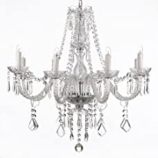 Crystal Chandelier Lighting 28ht X 28wd 8 Lights Fixture Pendant Ceiling Lamp