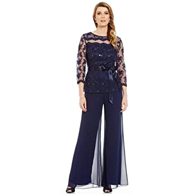492670942a360 Roycebridal Dark Blue Plus Size Mother of The Bride Dresses Pant Suit 3  Pieces