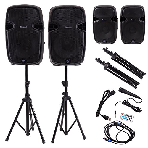 Costway 15-Inch 3000W 2-way Powered Speakers w/ Bluetooth, Mic, Speaker Stands and Control by COSTWAY