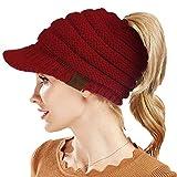 Beanie Winter Hats for Women,Warm Stretch Cable Knit Beanie,High Bun Ponytail Beanie Hat