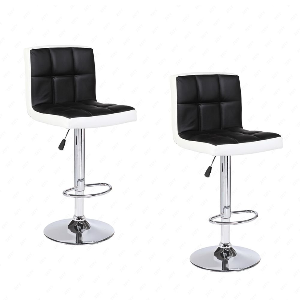 BLACK+WHITE Modern Set of 2 Bar Stools Leather Adjustable Swivel Pub Chair In Multi Colors