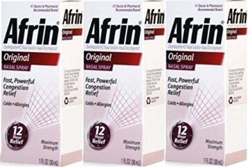 Afrin Original Nasal Spray & Decongestant, Fast/ Powerful Congestion opb1d Pack of 12 Bottles of 1 Fl Oz Each