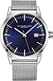 Stuhrling Original Mens Watch Mesh Band - Dress + Casual Design - Analog Watch Dial with Date, 555 Watches for Men Collection (Blue)
