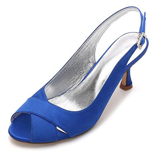 Court Party Peep Shoes L Shoes Heel Women's Bridal Bridesmaid Style Low 16 Satin Toe YC Wedding Fashion 8 Blue Jane P17061 3 xqqfCUwTa