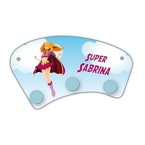 Perchero de pared con nombres Sabrina y un precioso diseño ...