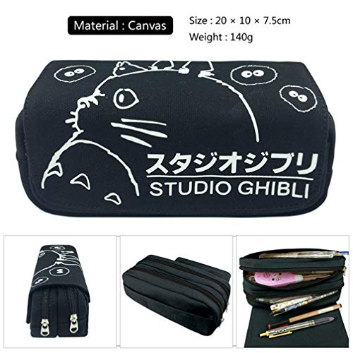 1 Pcs Black Totoro Large Big Capacity Canvas Double Zipper Anime Cartoon Animal Pen Bag Pencil Case Game Cosmetic Makeup Pouch Stationery Office School Supplies Holder Kid Gift Set]()