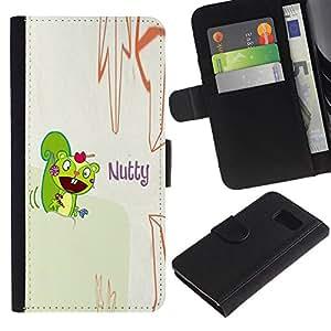 Paccase / Billetera de Cuero Caso del tirón Titular de la tarjeta Carcasa Funda para - Squirrel Mad Funny Quote Cartoon Drawing - Samsung Galaxy S6 SM-G920