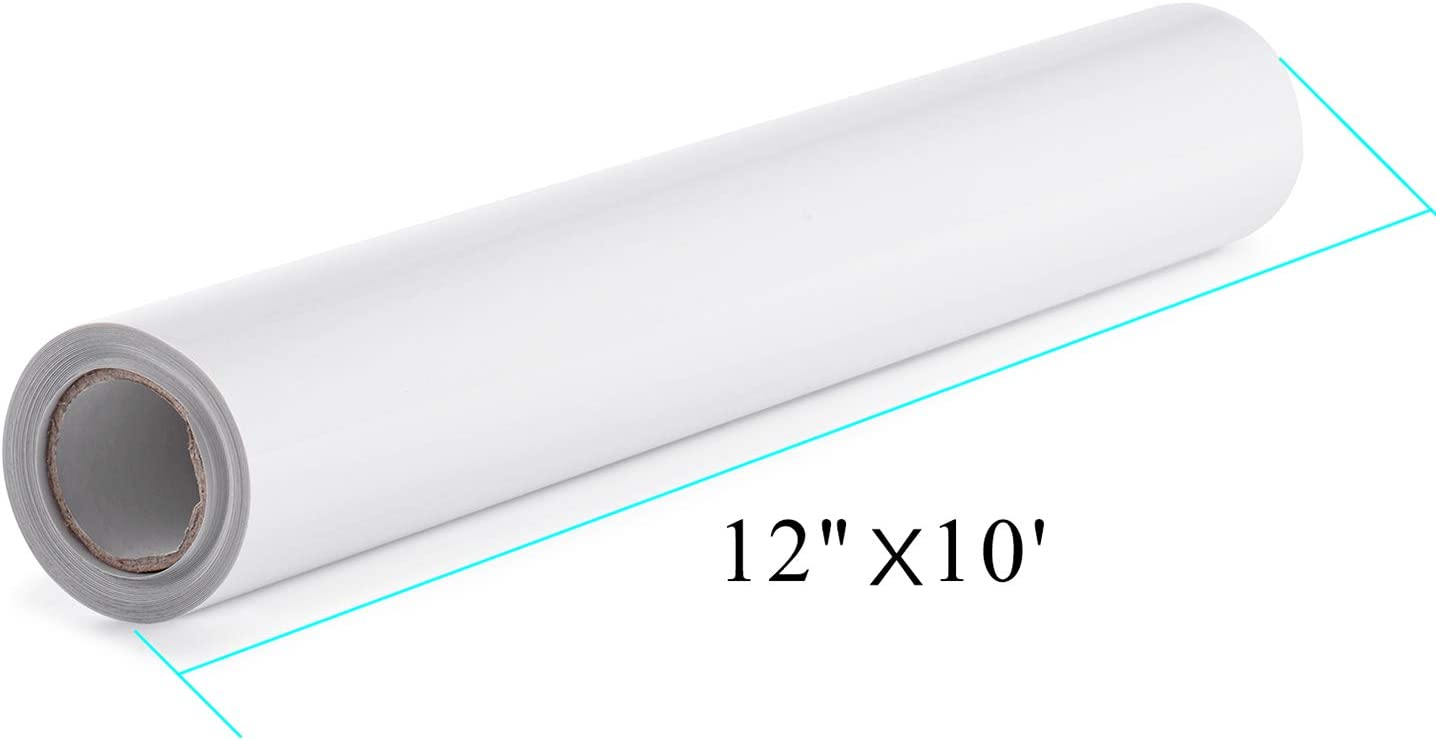 PU HTV Vinyl Rolls - 12 Inch × 10 Feet Heat Transfer Vinyl, Easy Cut & Weed Compatible with Cameo Silhouette & Cricut, Iron on Vinyl for Design DIY T-Shirts, Hats, Clothing and other textiles(White): Home & Kitchen