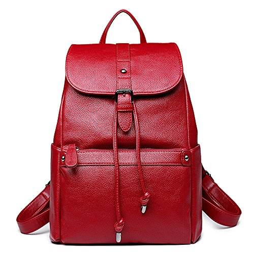 Backpack Zipper Casual College Style Shoulder Multi function Travel Fashion Bag Red Ladies Simple F1IXxP