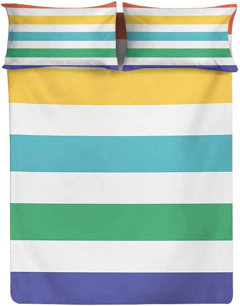 Fitted Sheet King Size Rainbow Pattern Green Bed Sheet