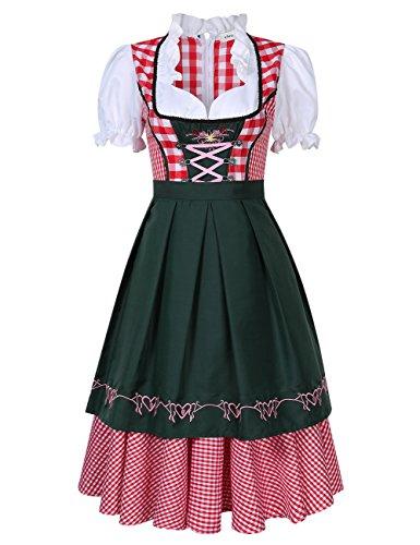 Bavarese Halloween 2pz Plaid Clearlove Per Oktoberfest Dirndl Rosso Donne Carnevale Tedesco Set In Costumi Di P0OxqFHwv