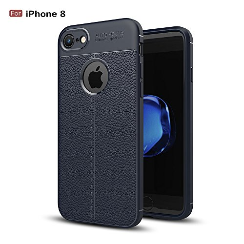 bounceback ? for Apple iPhone 7 / iPhone 8 Shock Proof Leather Pattern Armor Soft Back case/Cover   Royal Blue   Blue