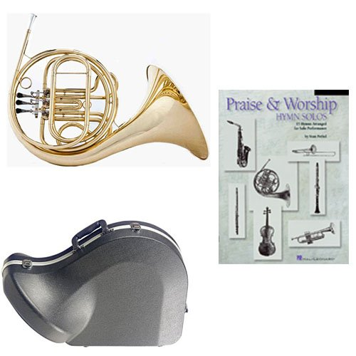 Band Directors Choice Single French Horn in F -Praise & Worship Hymn Solos Pack; Includes Student French Horn, Case, Accessories & Praise & Worship Hymn Solos Book by French Horn Packs