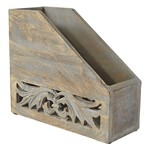 Indian Heritage Magazine Holder 10.5X12.5 Carved Wood Design in Grey Distress Finish