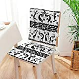 Mikihome Seat Set Cushion African Aztec Dance with Geometrical Borders Triangles Round Swirls Art Black and White 2 Piece Classic Decorative Chair pad Mat:W17 x H17/Backrest:W17 x H36