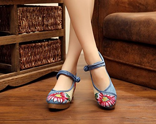 stile moda casual comodo aumento scarpe del biancheria scarpe blue ricamate suola femminili xiuhuaxie etnico tendine GuiXinWeiHeng gxRBq0R