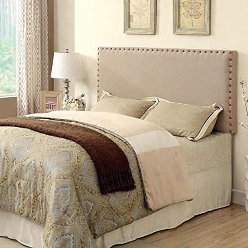 Ivory Button Nailed Headboard Is a Tall Tufted Headboard. Our Tufted Headboard...