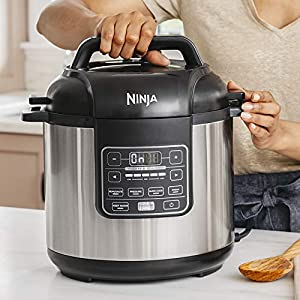 Ninja-Instant-1000-Watt-Pressure-Slow-Multi-Cooker-and-Steamer-with-6-Quart-Ceramic-Coated-Pot-Steam-Rack-PC101-Si-BlackSilver