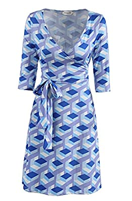 PinkPatty Women's Faux Wrap A Line Middle Sleeve Dress