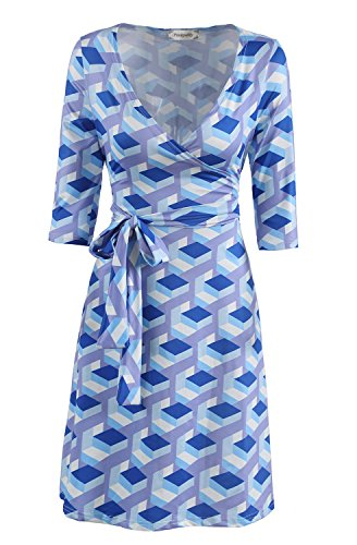 Retro Clothing for Women PinkPatty Women's Simple Sunday Resort Faux Wrap A Line Middle Sleeve Dress Blue and Periwinkle L (Women Sunday Dresses)