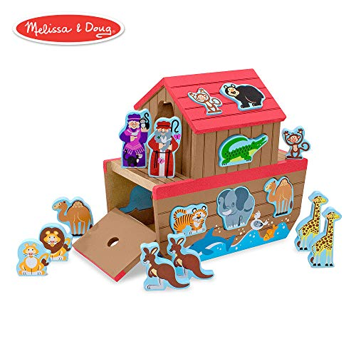 - Melissa & Doug Noah's Ark Wooden Shape Sorter Educational Toy (28 pcs)