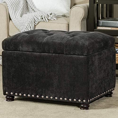 Decent Home 24 inch Tufted Storage Ottoman Square Velvet Foot Rest Stool with Nailheads Dark Grey