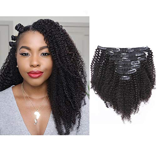 Afro Kinky Curly Clip in Human Remy Hair Extensions Brazilian Curly Clips Hair Extensions 3C 4A 4B 8A Virgin Thick Natural Black Color Clip on For Black Women 16 inch