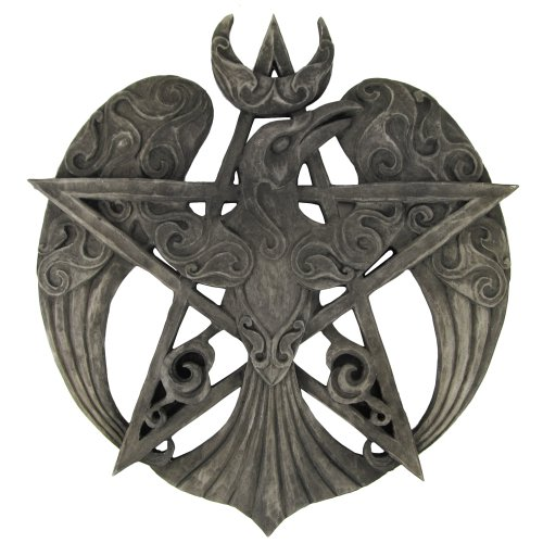 Large Crescent Raven Pentacle Wall Plaque Stone Finish
