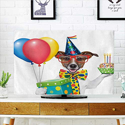Auraisehome Cord Cover for Wall Mounted tv for Kids Waiter Server Party Dog with Hat Cone Cupcake Balloons Boxes Multicolor Cover Mounted tv W30 x H50 INCH/TV 52