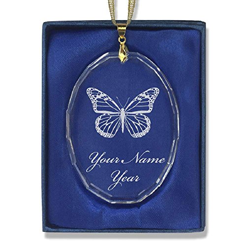 Oval Crystal Christmas Ornament - Monarch Butterfly - Personalized Engraving (Butterfly Ornaments For Christmas)
