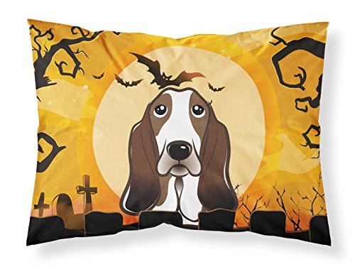 Caroline's Treasures BB1801PILLOWCASE Halloween Basset Hound Fabric Standard Pillowcase, Large, Multicolor]()