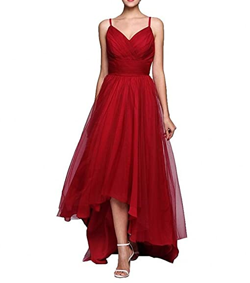 Botong Red Long V-Neck Bridesmaid Dress Sleeveless Women Dress Prom Dress Red US2