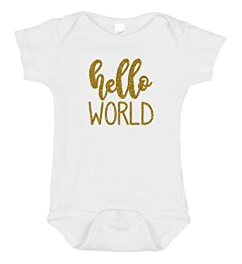 c65b0bab Amazon.com: Hello World Newborn Onesie | New Baby Outfit | Coming Home  Bodysuit Romper: Clothing
