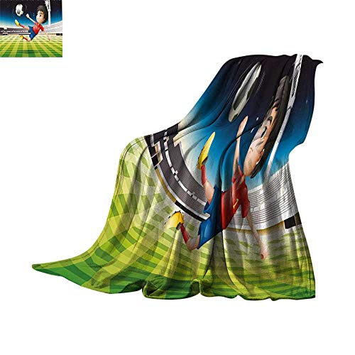 Custom homelife Lightweight Blanket Kids,Young Boy Playing Football in The Stadium Athlete Sports Soccer Championship Graphic,Multicolor Soft Blanket Microfiber Bed or Couch 60
