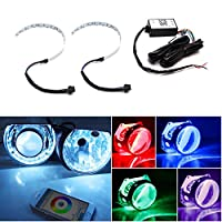 "iJDMTOY WIFI Wireless Remote Control 15-SMD RGB LED Demon Eye Halo Ring Kit For Headlight Projectors or 2.5"" 2.8"" 3.0"" Retrofit Projector Lens"