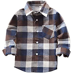 Best Epic Trends 51%2Bwg1PcgAL._SS300_ Kids Little Boys Girls Baby Long Sleeve Button Down Red Plaid Flannel Shirt Plaid Girl Boy NB-6T