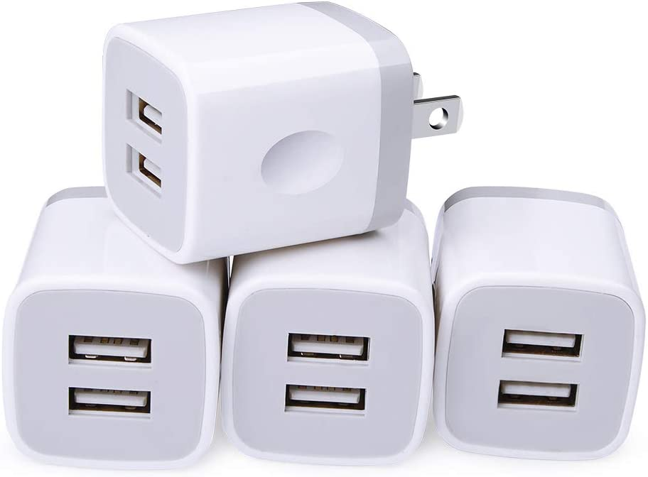 USB Wall Charger, Cube Charger 2 Port Charging Box 4Pack 2.1A/5V Home Travel Charger Plug USB Power Adapter Charging Station Base for iPhone 11 Pro Max XR XS X 8 7 6 6S Plus 5S 5, iPad, iPod, Samsung