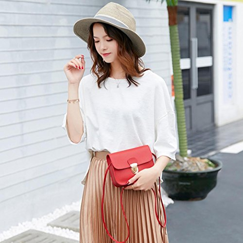 Plain Ladies PU for Leather Bag Woman Handbag Small Red Shoulder Bag Clutch Girls Messenger Red Bags q17TEnz