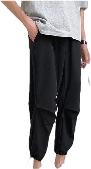 Romancly 男性ビーム足弾性ウエストバギーヒップホップ固体パンツ