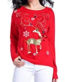 Image of V28 Women Girl Ugly Christmas Shining Reindeer 3D Colourful Bells Sweater Jumper (M, Red)