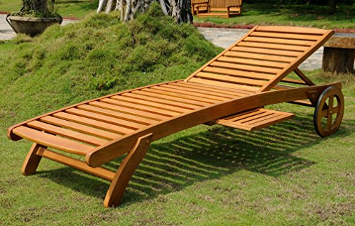 (International Caravan TT-SL-008-A-IC Furniture Piece Royal Tahiti Outdoor Wood Chaise Lounge Wheels, Black, Blue, Brown, Green, Multicolor )